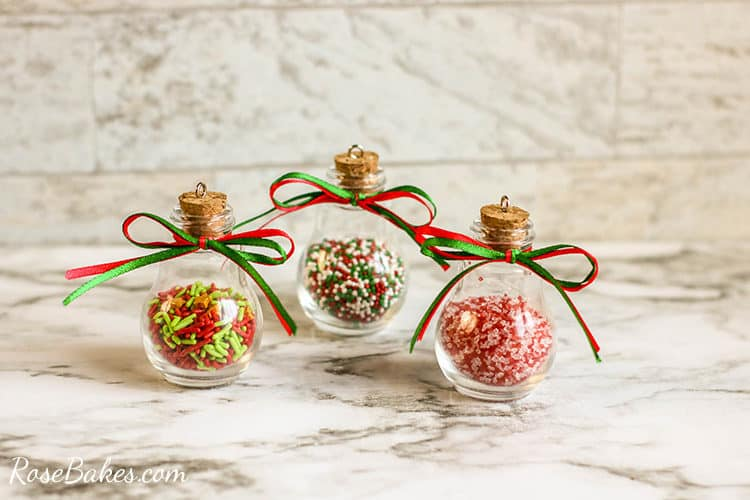finished diy sprinkles ornaments on a marble table