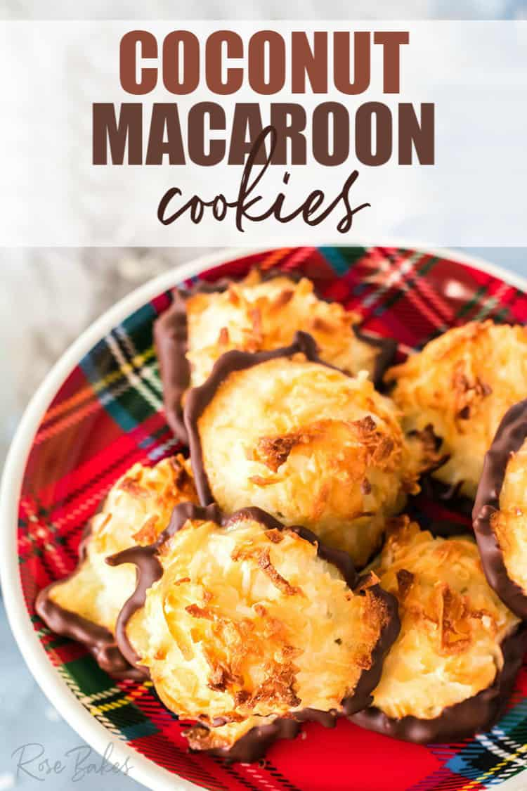 Plate of coconut macaroon cookies dipped in chocolate.