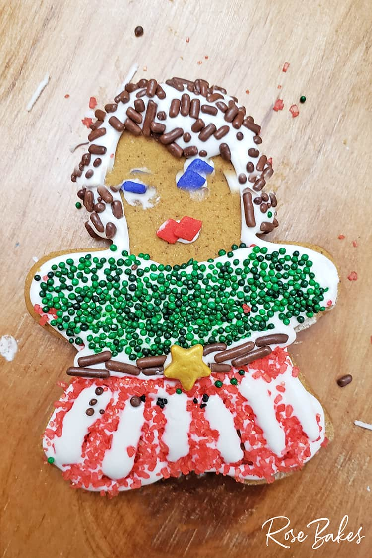 Gingerbread Woman decorated by a kid with lots of sprinkles