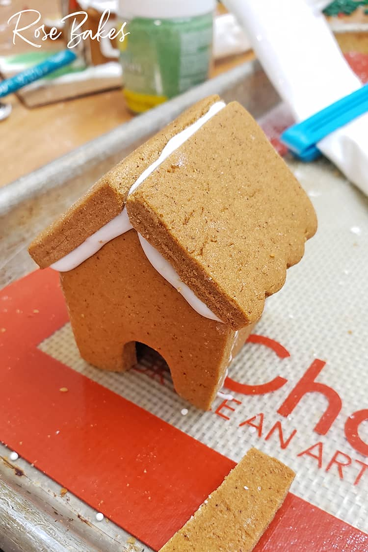 Mini Gingerbread House Assembled and drying before adding decorations