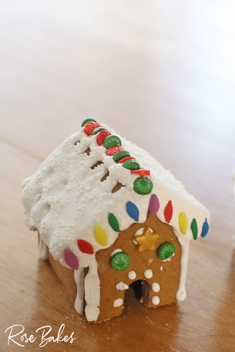 Finished mini gingerbread house for How to Make Mini Gingerbread Houses with Kids post