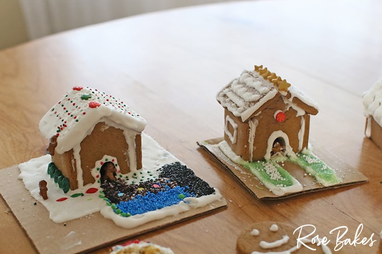 Finished mini gingerbread houses for How to Make Mini Gingerbread Houses with Kids post