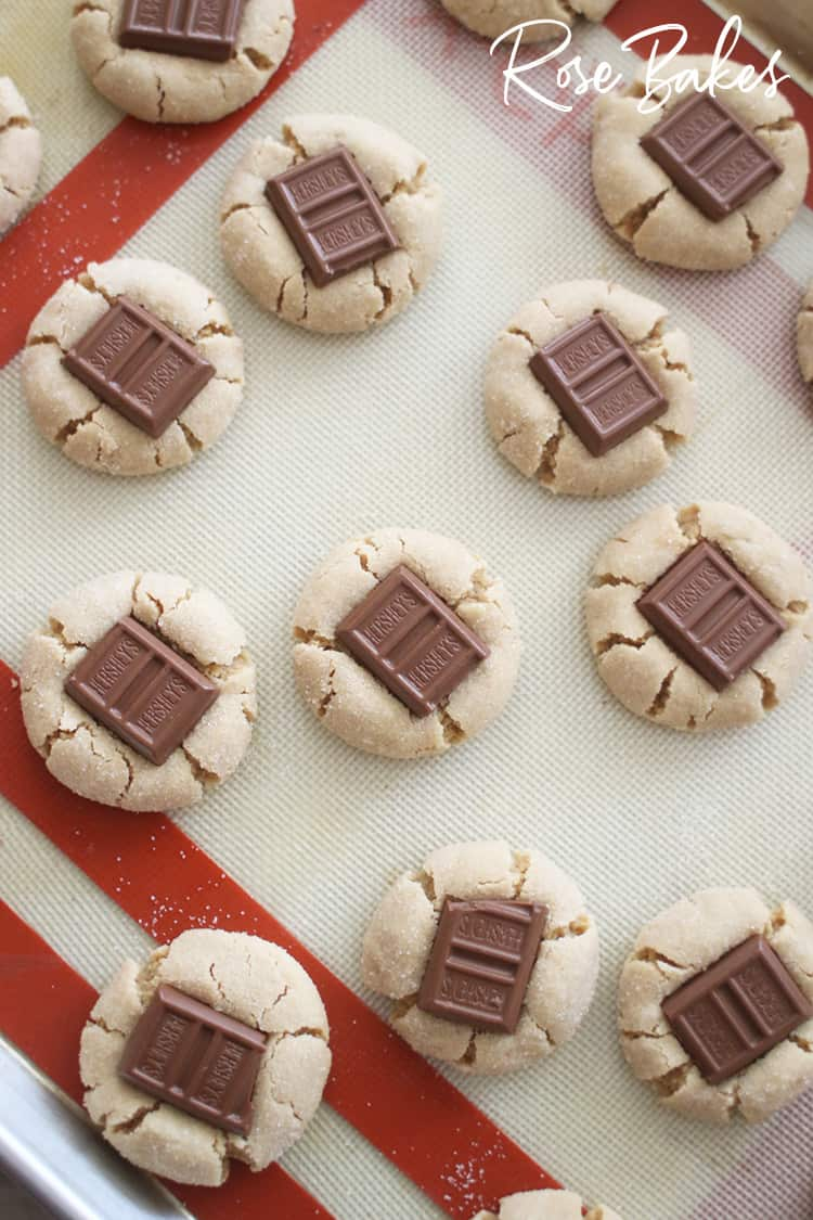 Peanut Butter Kiss Cookies made with Fun-Size Hershey Bars