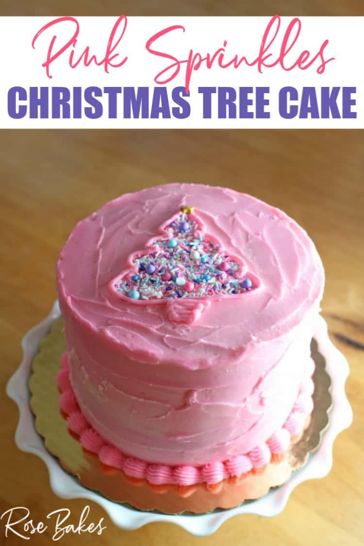 Pink Sprinkles Christmas Tree Cake