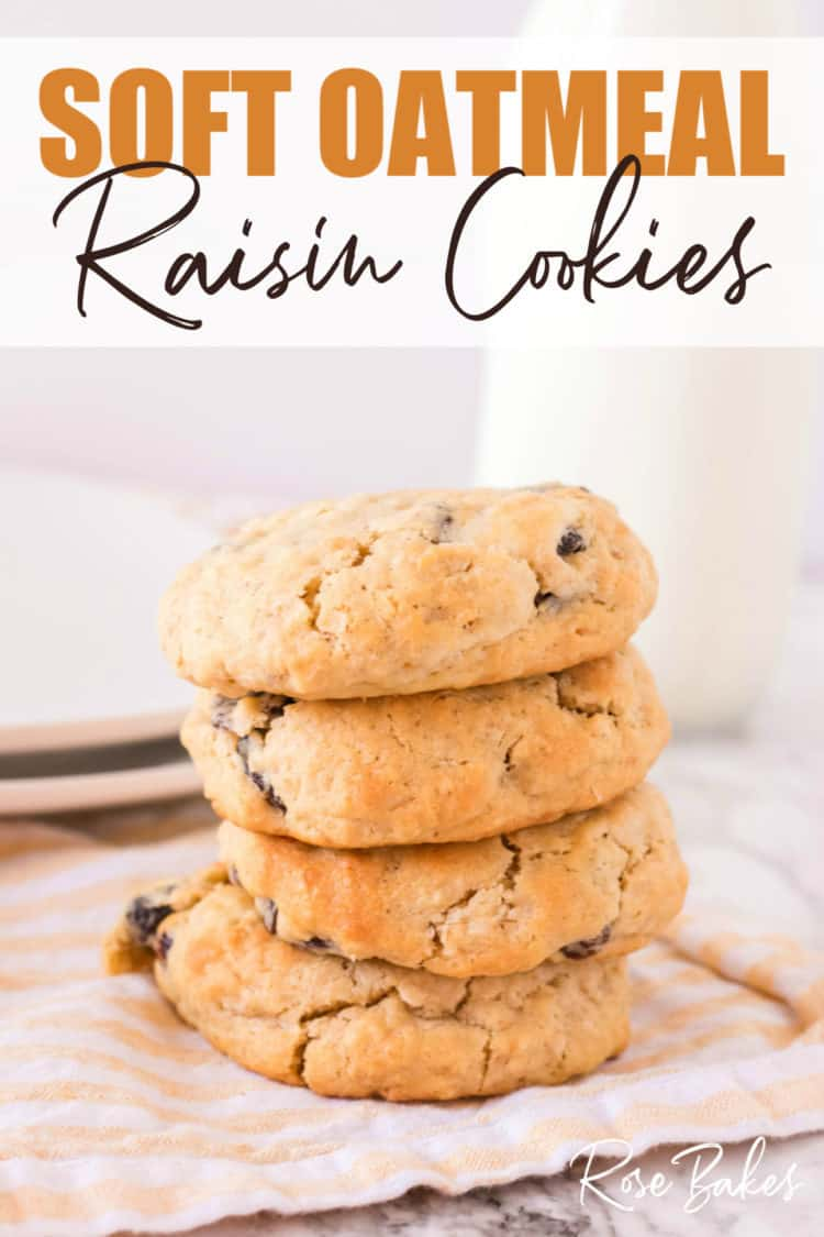 Soft Oatmeal Raisin Cookies on yellow cloth with pin text overlay