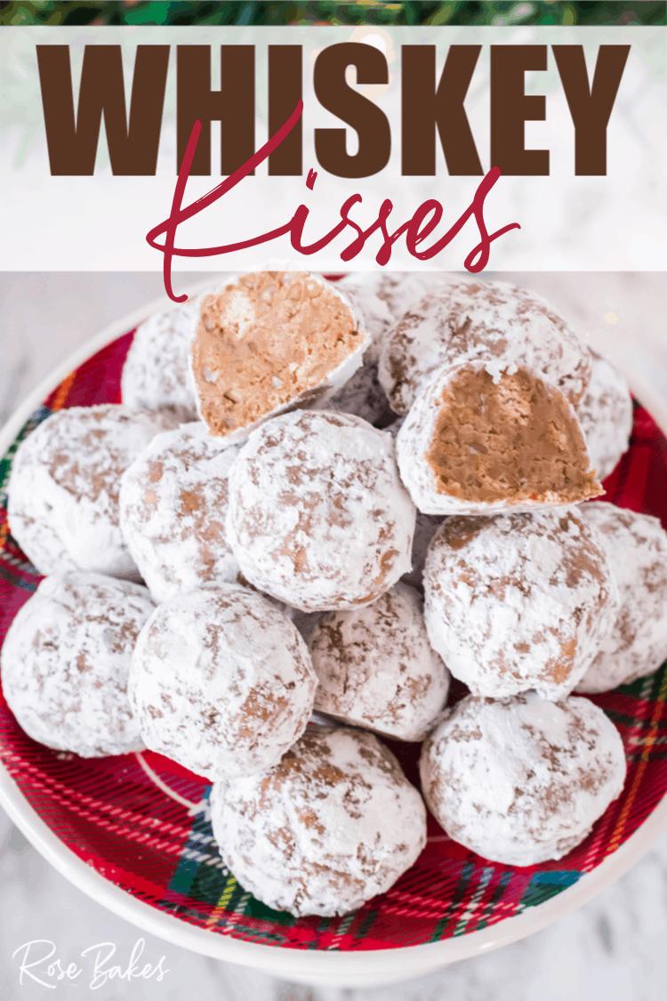 Whiskey Kisses or Bourbon Balls on Christmas platter