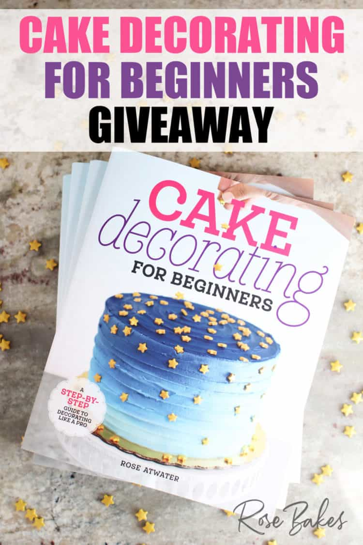 Cake Decorating for Beginners books and star sprinkles with text