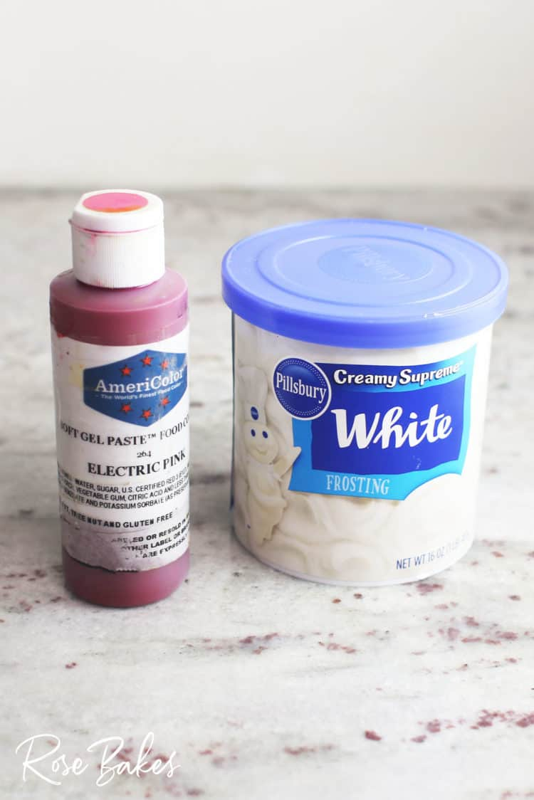 electric pink gel coloring and pillsbury white frosting for Canned Frosting Drip Cake