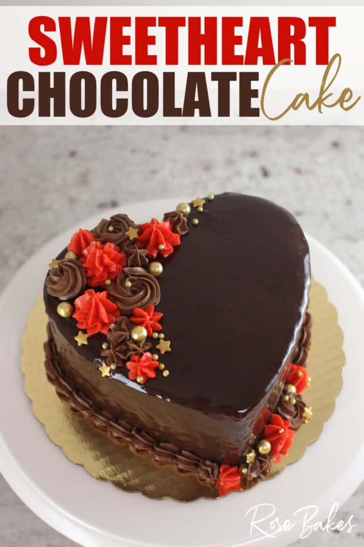 Sweetheart Chocolate Cake with red and gold perfect for Valentines Day