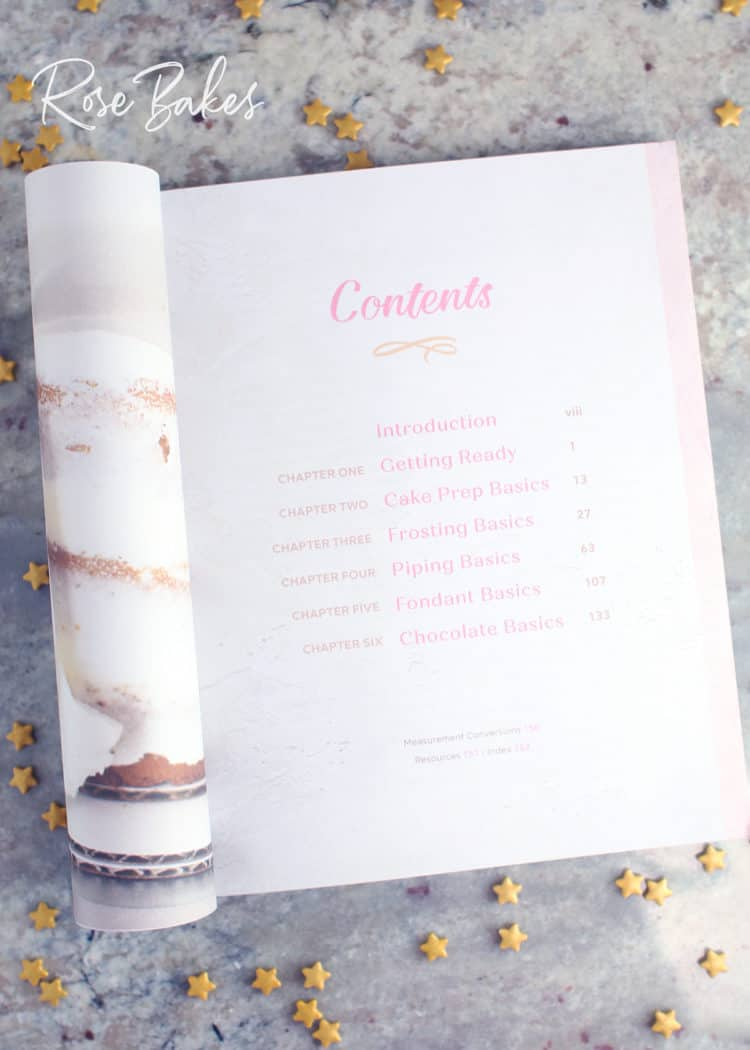 table of contents for Cake Decorating for Beginners book