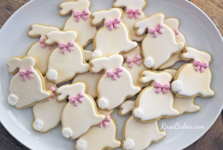 Decorated Easter Bunny Cookies on a white platter