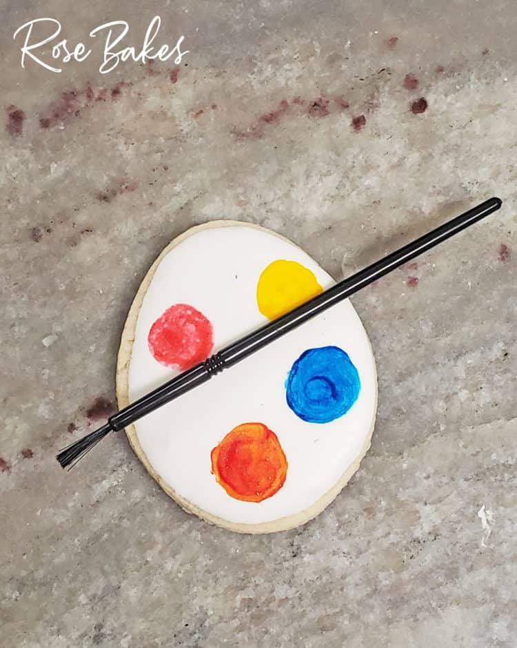 a homemade palette on a cookie for a PYO cookie set