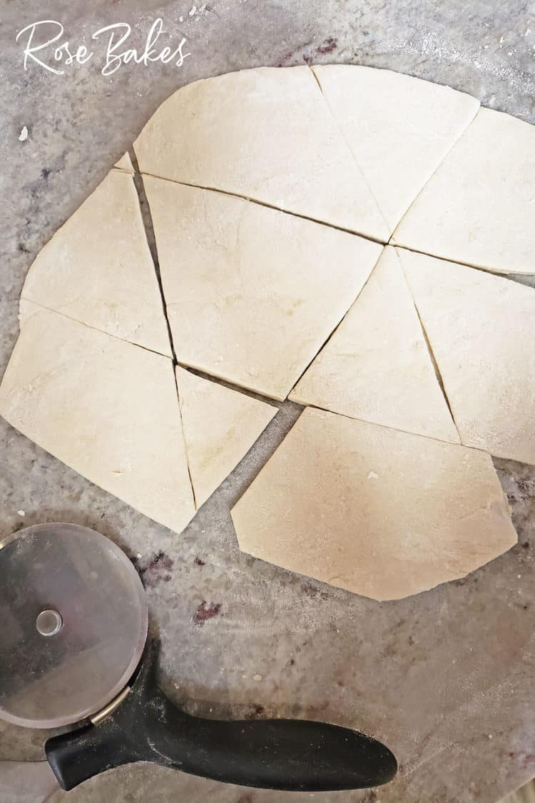cutting indian fry bread dough on floured surface