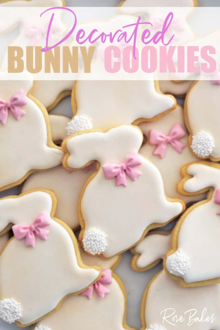 How to Make Decorated Easter Bunny Cookies with pink bows and white poofy tails made from nonpariels.