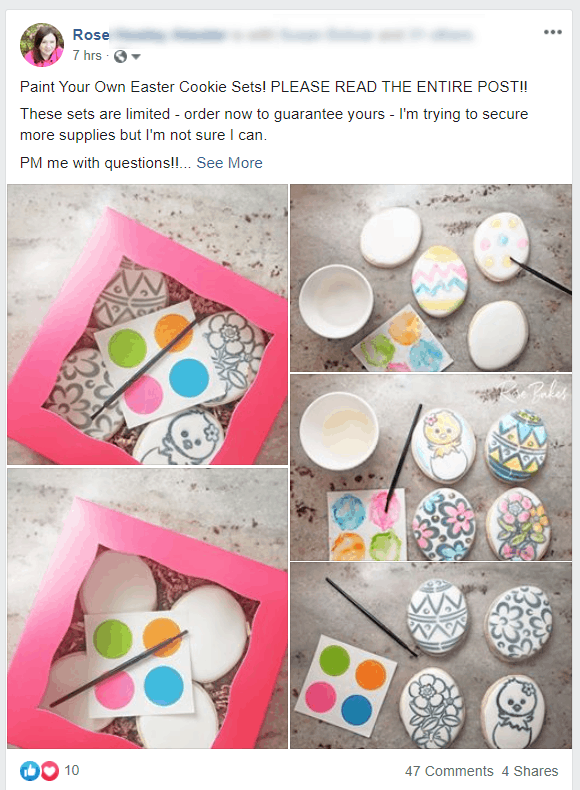 A screenshot of my Facebook post for How to Sell Paint Your Own (PYO) Cookie Sets - No Cookie Decorating Required
