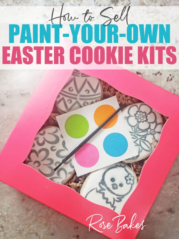 How to Sell Paint Your Own (PYO) Cookie Sets - No Cookie Decorating Required! A pink box of stenciled cookies with a palette and paintbrush for clients.