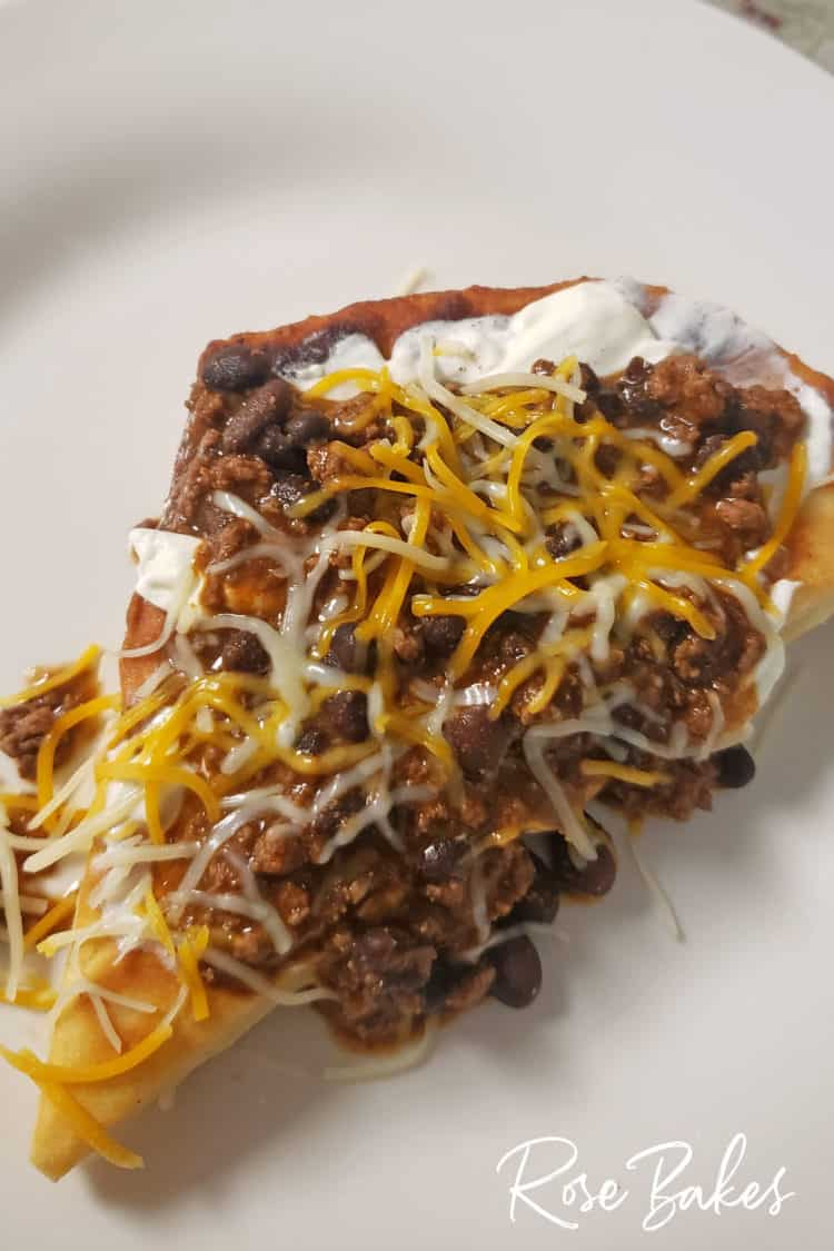 Indian Fry Bread made into tacos with meat cheese and sour cream