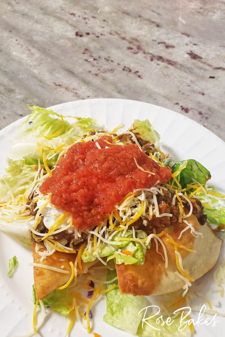 Indian Fry Bread with taco toppings