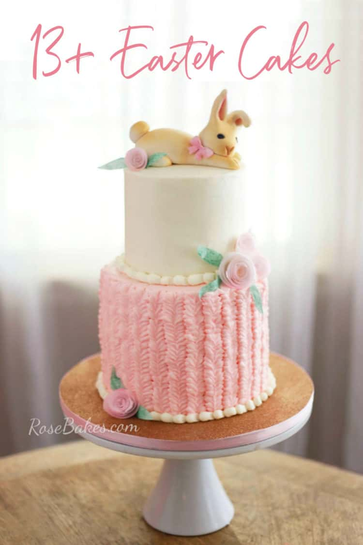 Easter Bunny Cake with Bunny Topper and Pink Textured Buttercream on Bottom Tier