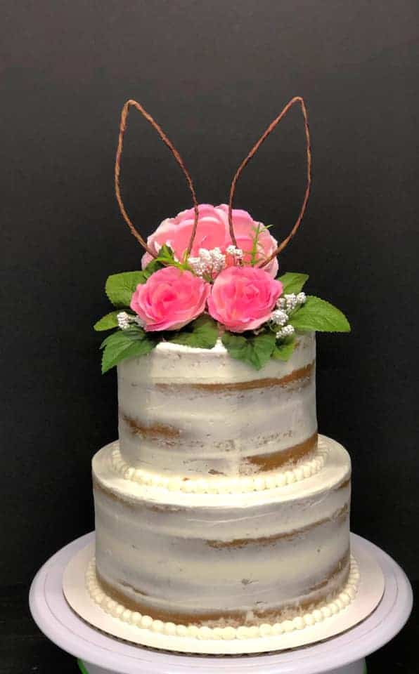 Naked Cake with Easter Bunny Cake Topper and Flowers