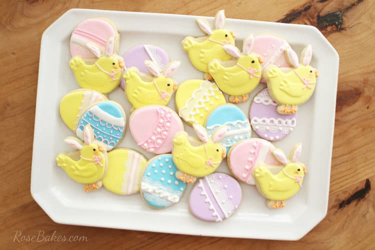Yellow Easter Bunny Chick Cookies and Pastel pink, blue, purple, and yellow Easter Egg Cookies