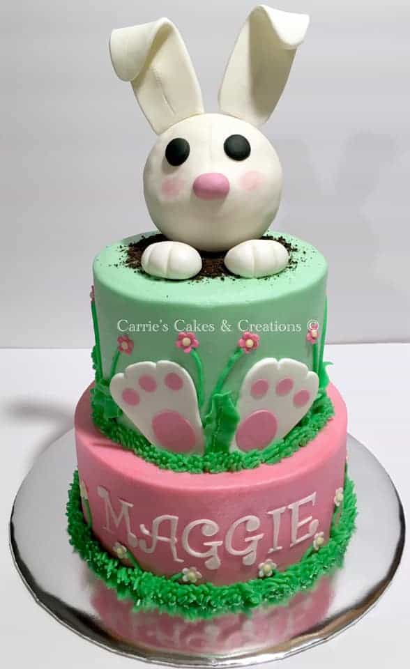 Bunny popping out of cake