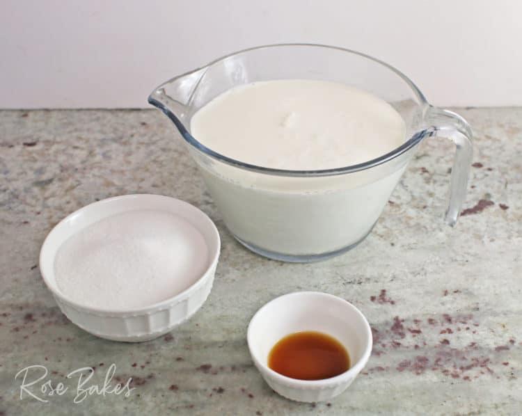 Easy Homemade Vanilla Ice Cream ingredients: half & half, sugar, vanilla