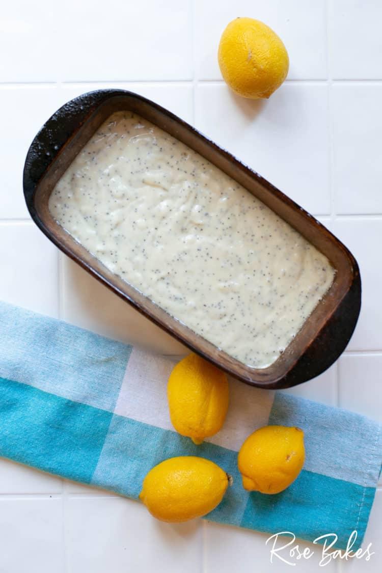 Poured Lemon Poppyseed Loaf batter in loaf pan
