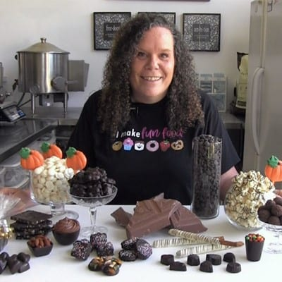 Beth from Hungry Happenings teaching the Chocolate Courses for The Sugar Academy