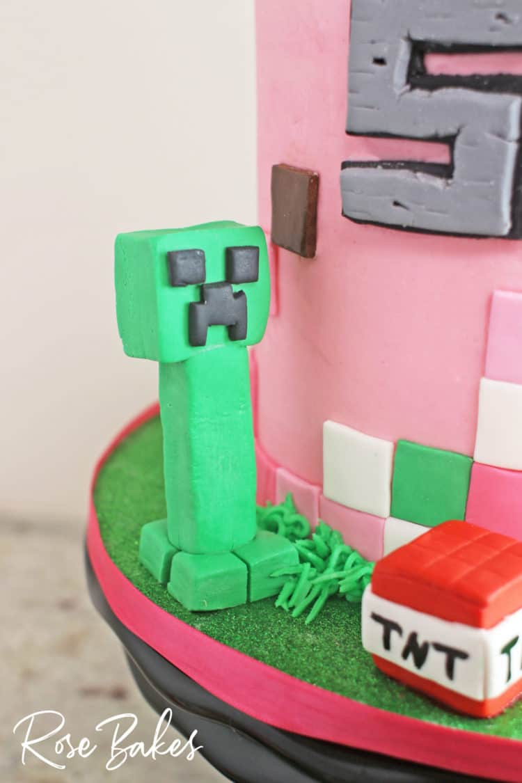 A Pink Minecraft Birthday Cake For A Girl Rose Bakes