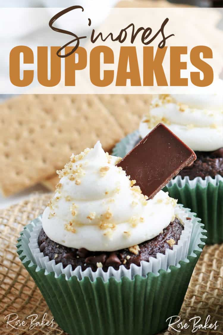 S'mores Cupcake with chocolate bars and sprinkles of graham cracker crumbs with Pinterest text overlay