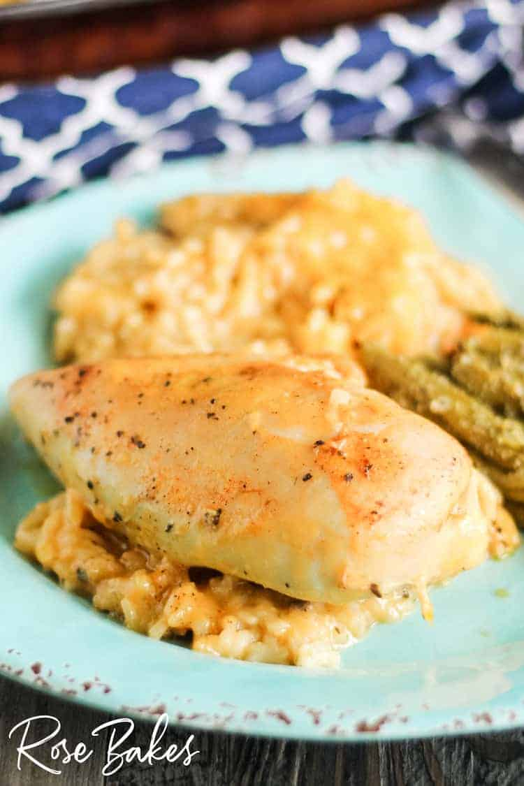 Cheesy Chicken & Rice Casserole on a plate