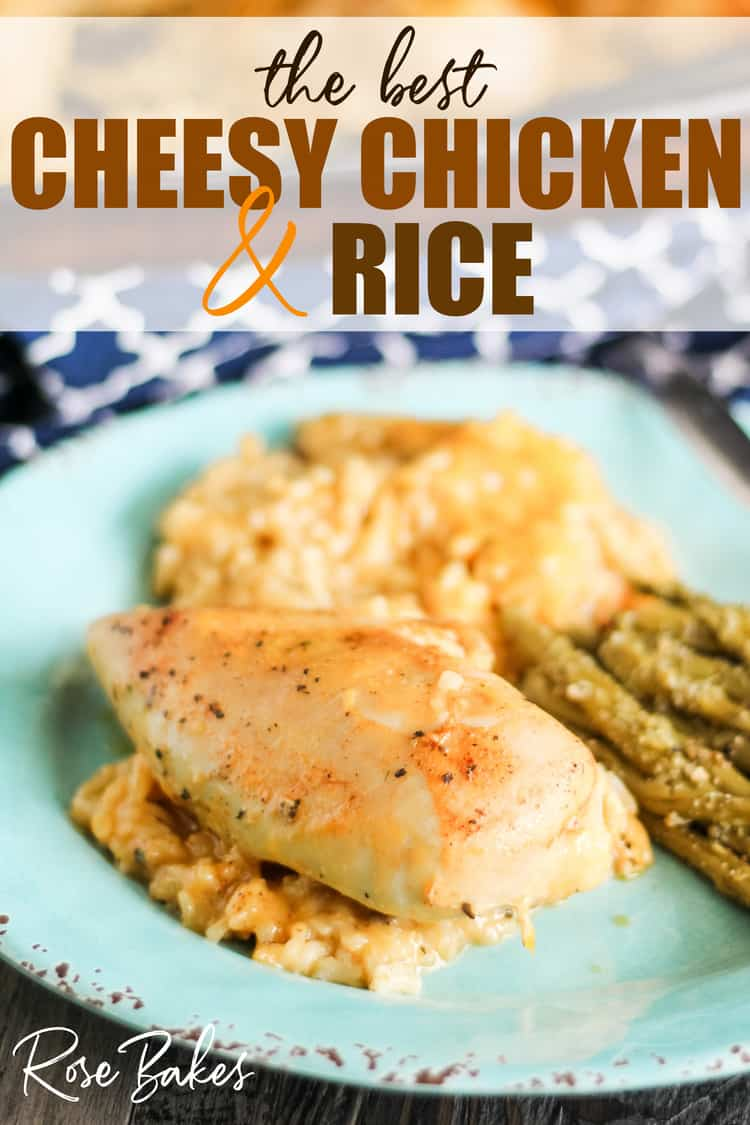 The Best Cheesy Chicken & Rice Casserole on a plate with asparagas