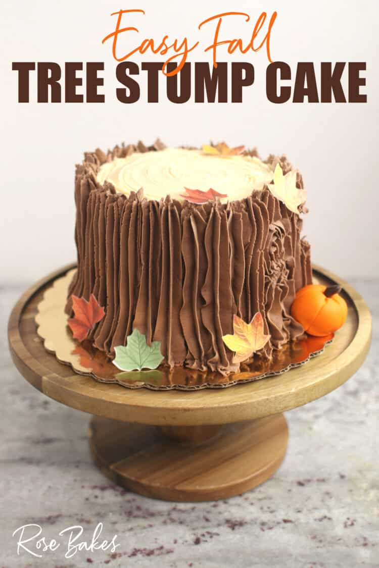 Easy Fall Tree Stump Cake on Wooden Stand with Pin Text Overlay