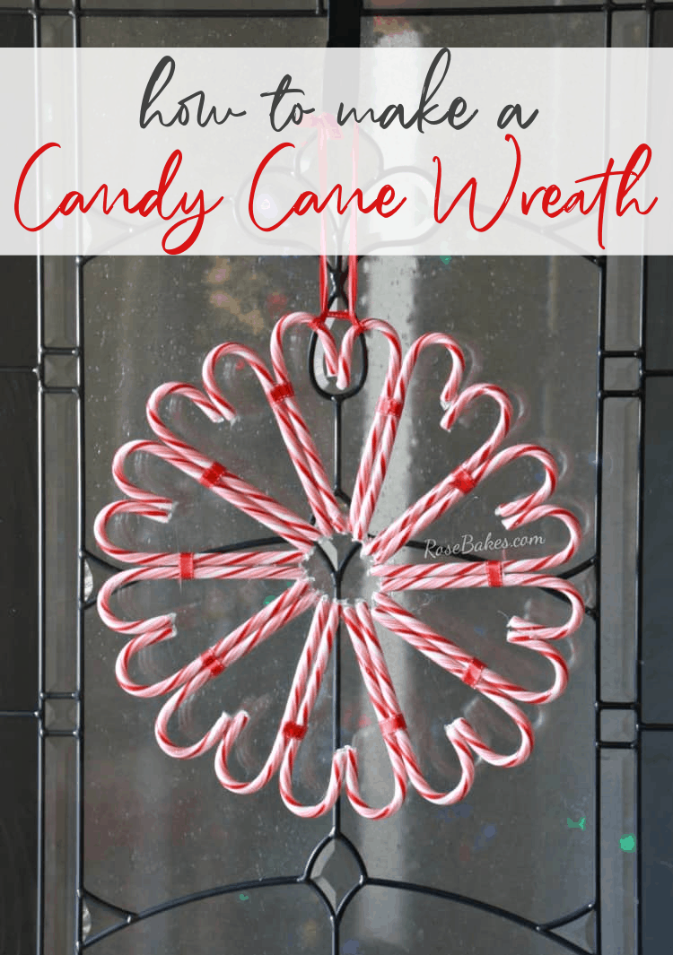 "Wreath made of candy cane with the text, ""how to make a candy cane wreath"""