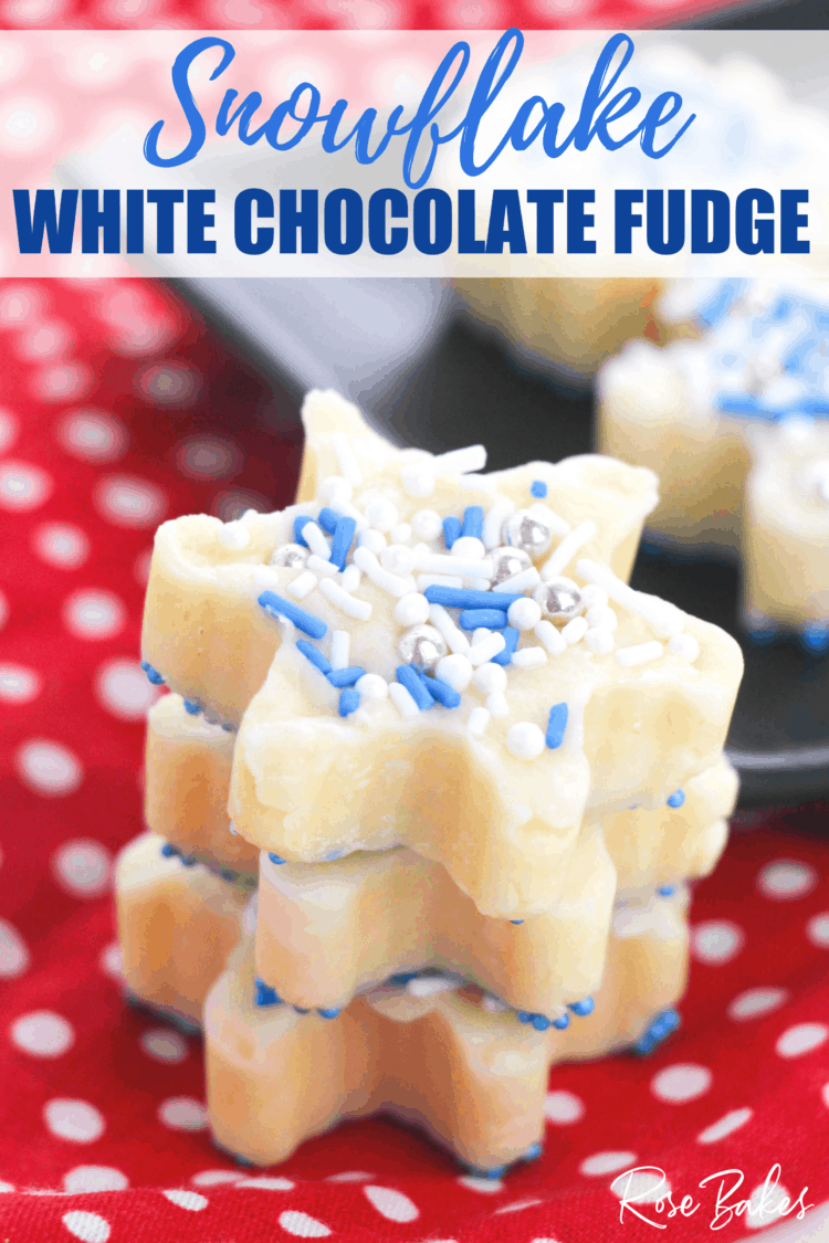 Stack of white chocolate fudge snowflakes on a red and white dotted cloth with pin text.