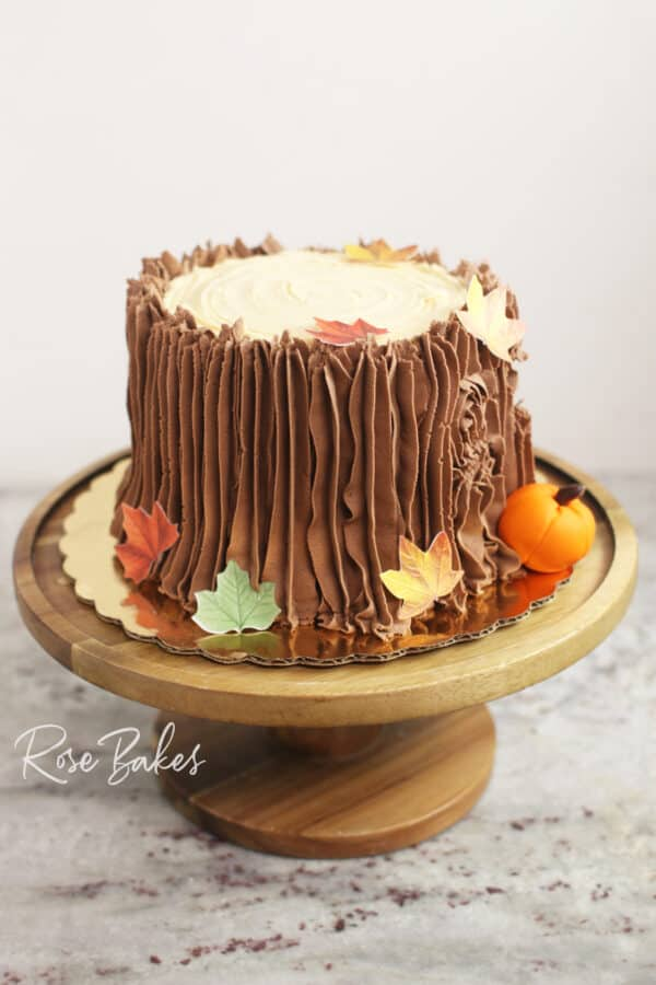 Fall Tree Stump Cake on Wooden Stand