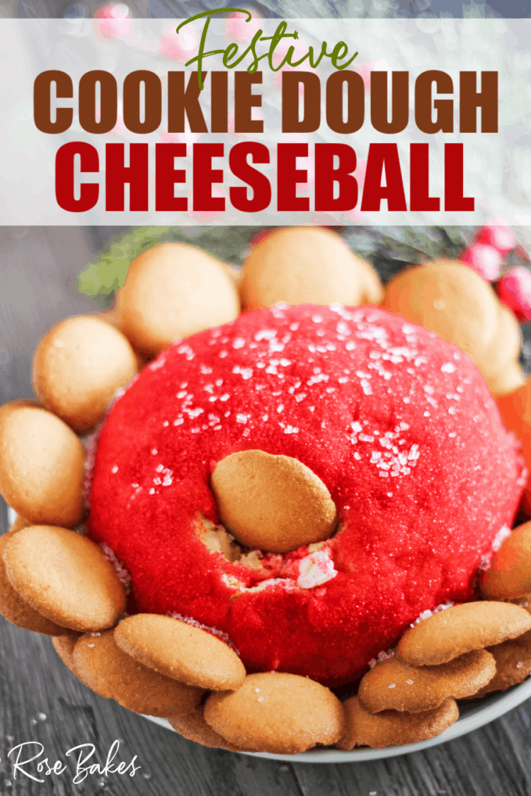 Cookie Dough Cheeseball rolled in red sparkling sugar with nilla wafers surrounding the ball.