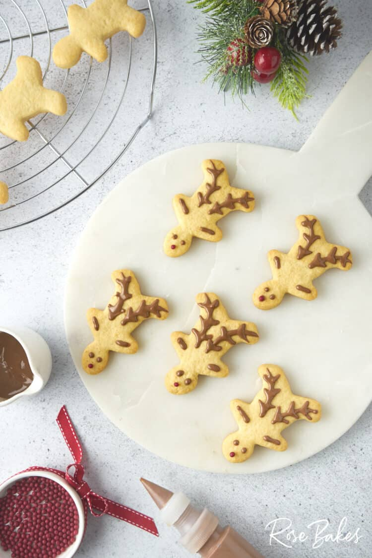 Overhead view of a platter of decorated Christmas reindeer cookies.