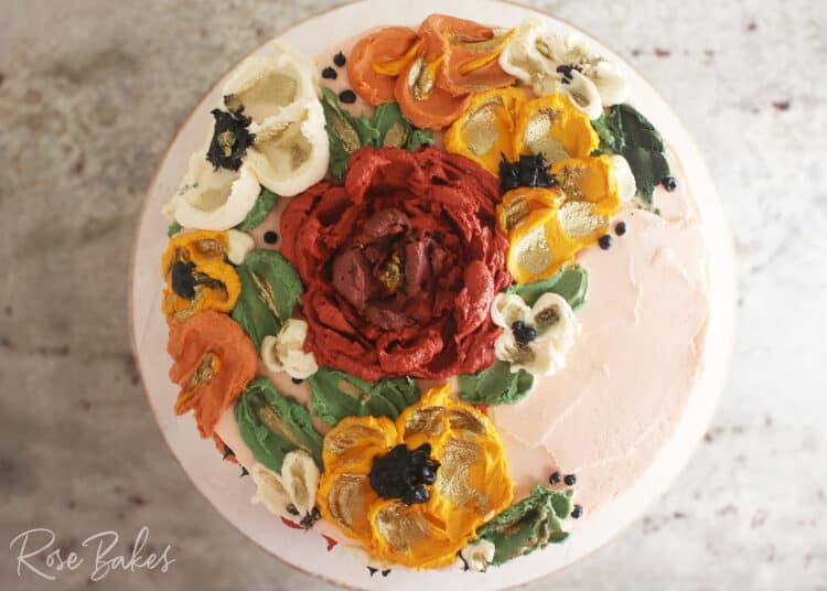Top view of the buttercream flowers created with palette knives.