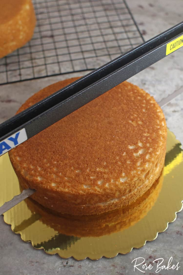 Cake being cut in half with an Agbay