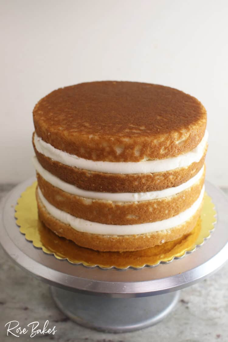 Cake with 3 layers of filling ready to be frosted