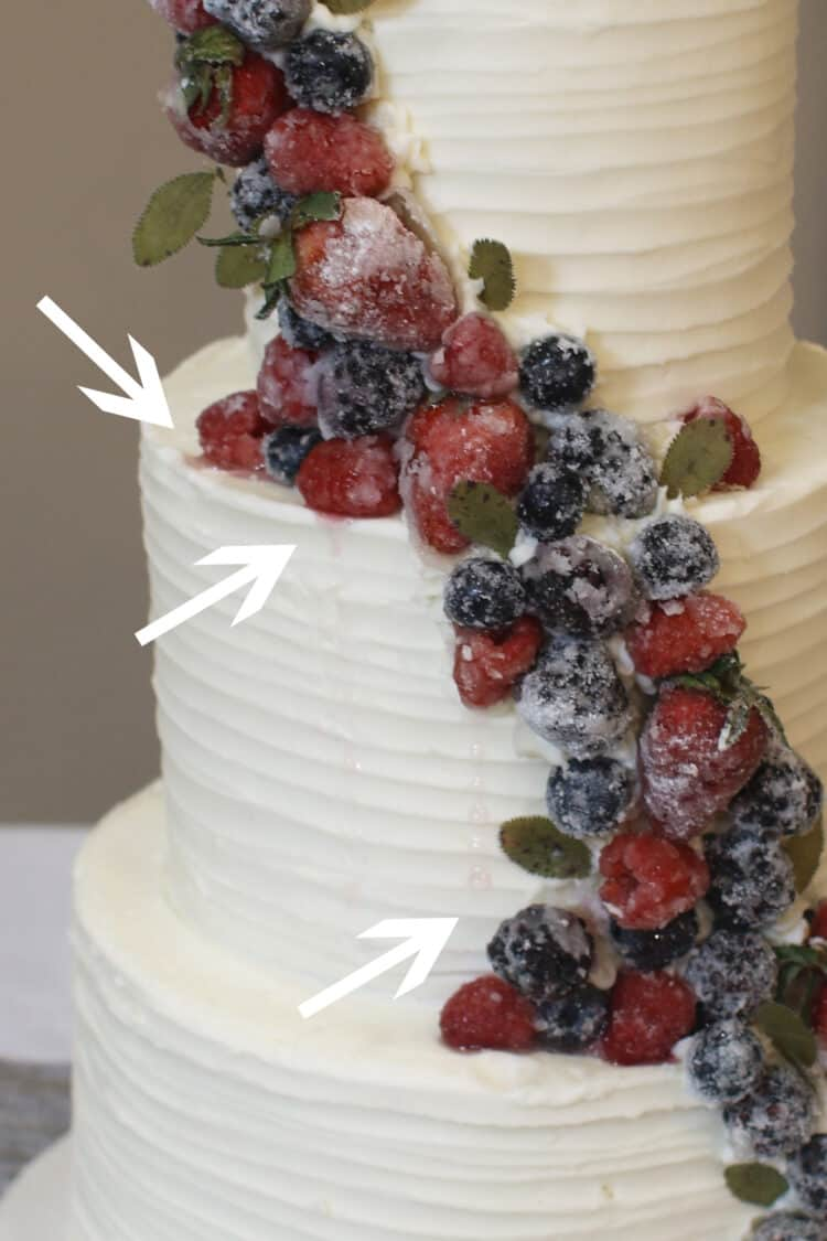 Sugared berries on a buttercream cake with arrows pointing out where the raspberries seeped juices onto the cake.