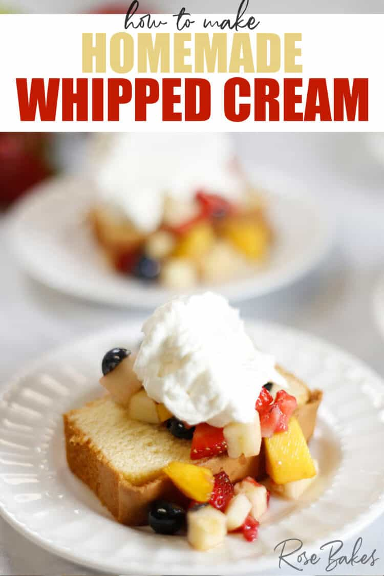 Slice of pound cake with fruit salsa and topped with a dollop of homemade whipped cream.