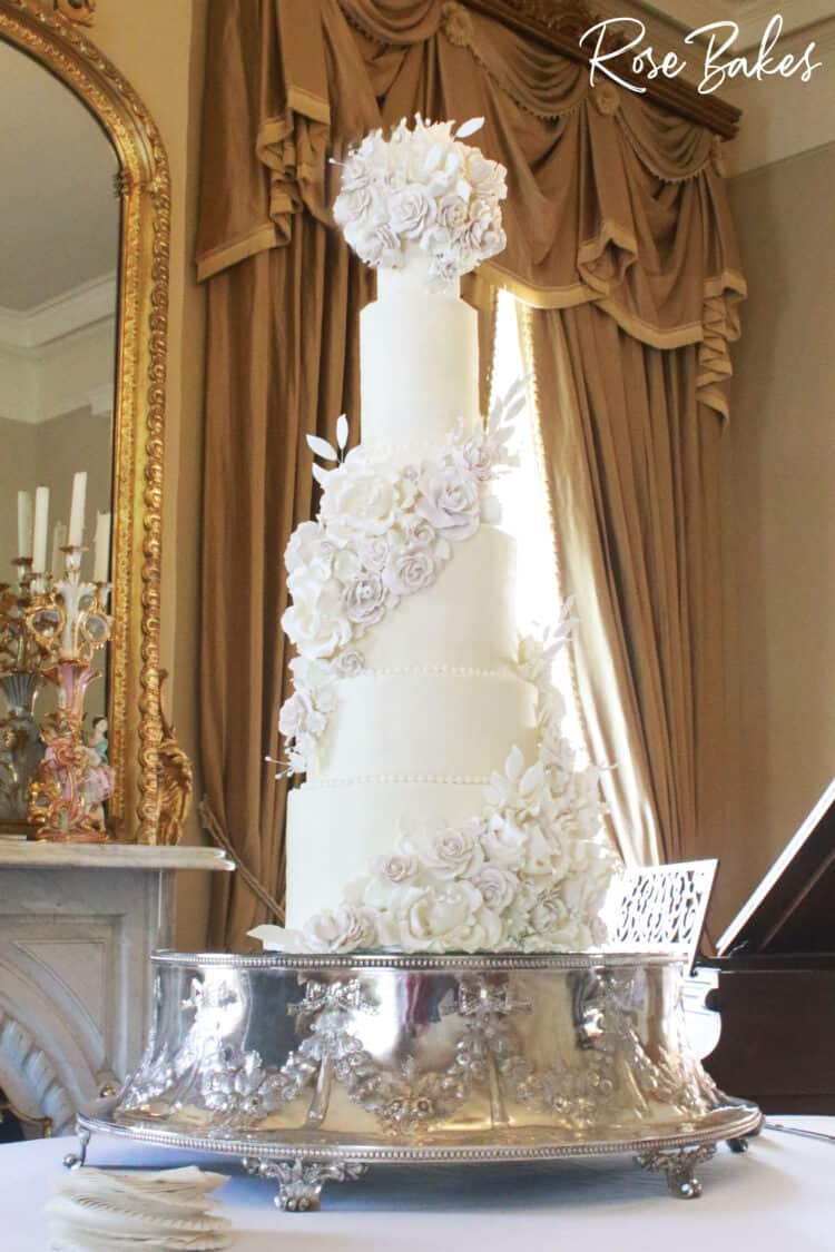 photo of silver cake stand and 9 tier cake